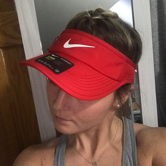 b567bc80 Nike Accessories | Red Featherlight Aerobill Drifit Tennis Visor Os ...